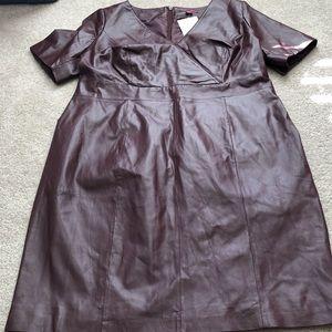 Jessica London Short Sleeve V Neck Real Leather